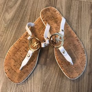 Michael Kors Gold and White Sandals